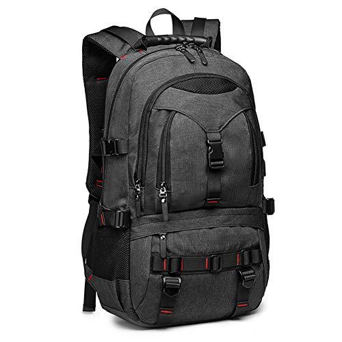 QINEOR Outdoor-Rucksack Mit USB-Kabel Und Stecker, Wasserdichter Laptop-Rucksack, Lässig, Business, Schule,Black,56 * 16 * 36cm