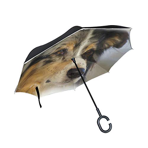 TIKISMILE Shepherd Dog Reverse Umbrella Inverted Umbrella Windproof Umbrellas UV Protection for Car Rain Outdoor with C-Shaped Handle