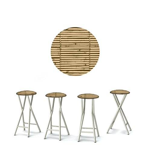 Best of Times 13169W2302 Luau Tiki 30' Portable Padded Bar Stools, Fabric Slip Covers with Your Choice of Design, Easily Folds, Set of 4, Brown