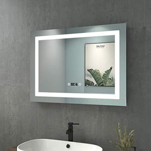 WELMAX 80x60cm Beleuchtung Badezimmerspiegel Wandspiegel LED Badspiegel mit Touch-Schalter, Beschlagfrei, Uhr