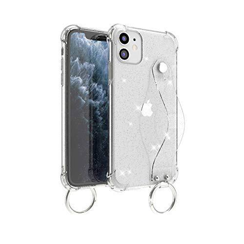 Wuwedo iPhone 11 Pro Max Clear Glitter Case with Hand Strap, Soft Silicone Gel Rubber Sparkle Bling Cover Case with Adjustable Finger Strap for Girls Women