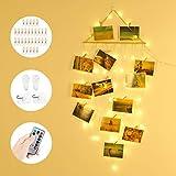 Anpro LED Suspendus Photo Clip String Light, 58LED avec 30 Clips en Bois 4 Crochets, alimenté par USB et 3 Piles AA, Parfait comme Cadeau de Pendaison de crémaillère de fête d'anniversaire de Noël