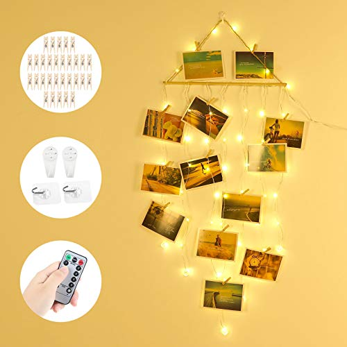 Anpro LED Hanging Photo Clip String Light,58LED with 30Wooden Clips 4Hooks, Remote Control Timing Function, Powered by USB and 3 AA Batteries, Perfect as a Christmas Birthday Party Housewarming Gift