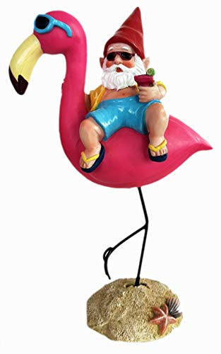 Funny Guy Mugs Garden Gnome Statue - Gnome and A Flamingo - Indoor/Outdoor Garden Gnome Sculpture for Patio, Yard or Lawn