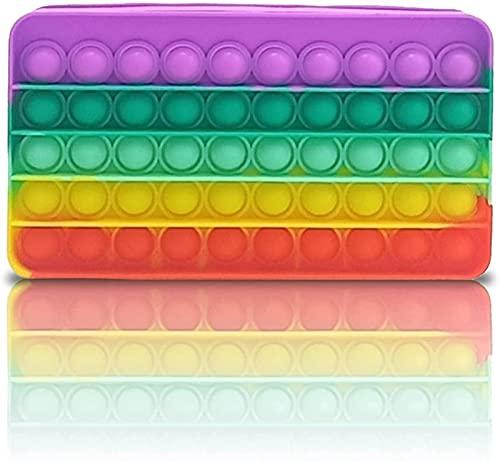 LEEFISH Estuche para Lápices de Silicona Pop Bubble Pen Pouch Holder Box Descompresión Papelería Bolsa de Almacenamiento Útiles Escolares para Niñas Niños Adolescentes,Multicolour