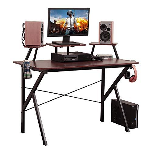sogesfurniture Gaming Tisch - ergonomischer Gaming Schreibtisch, Computertisch Arbeitstisch mit Getränkehalter und Kopfhöreraufhänger, 120x60x75cm, Walnuß BHEU-YX001-WA