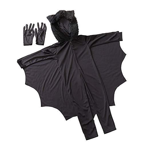 Trifycore Unisex Vampirs-Schläger-Kostüm-Halloween-Tier-Schläger Anzieh mit Handschuhen für Kinder Halloween-Party-Dekoration Schwarz L 1Set