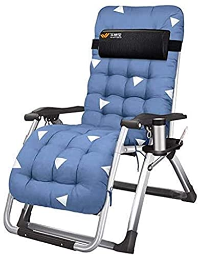 Patio Lounge Chairs Recliner Garden Loungers and Recliners Bed Chair Office Folding Chairs with Cushion Lunch Break In Textoline with Free Side Table/Cup Holder (Size : Withoout Cushion)