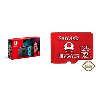 Nintendo Switch with Neon Blue and Neon Red Joy‑Con - HAC-001(-01) + SanDisk 128GB MicroSDXC UHS-I Card (B07YBVJRD7) | Amazon price tracker / tracking, Amazon price history charts, Amazon price watches, Amazon price drop alerts