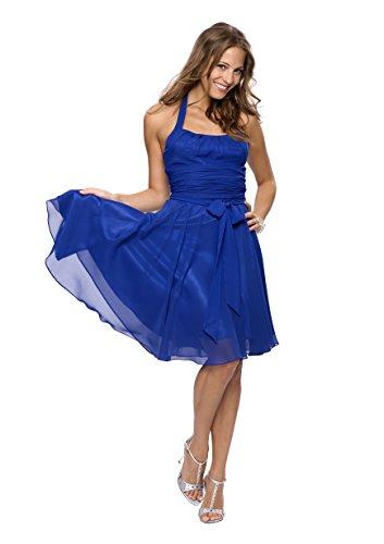 Astrapahl Damen Cocktail Kleid Neckholder, Knielang, Einfarbig, Gr. 36, Blau