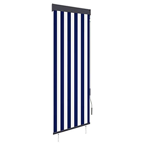 Senkrechtmarkise Balkonrollo Sichtschutz Beschattung, Fensterrollo, Verdunkelungsrollo Rollos, Blickdicht, 60 x 250 cm Blau und Weiß