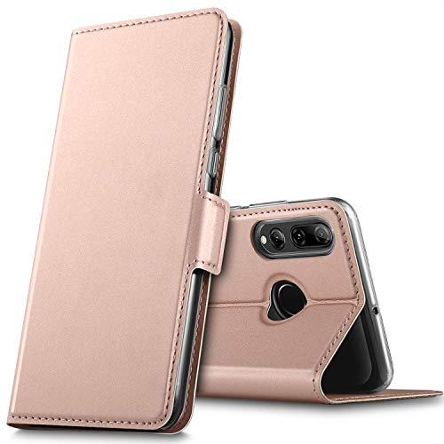 Huawei P Smart Plus 2019 Hülle, für Honor 20 Lite Hülle, handyhüllen Flip Hülle Wallet Stylish mit Standfunktion und Magnetisch PU Schutzhülle passt für Huawei P Smart+ 2019 Phone, Rosegold