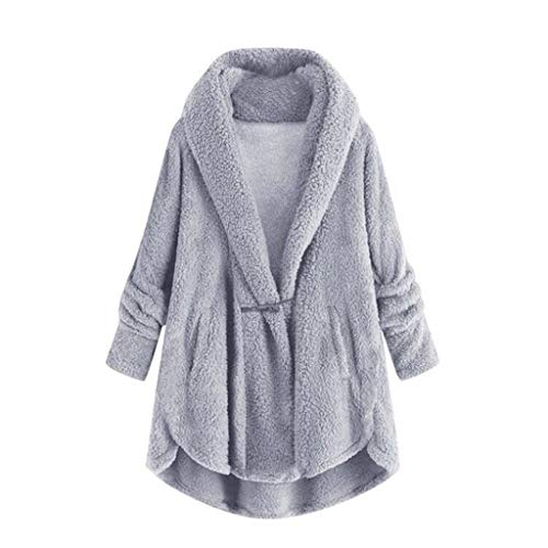 Jacket for Women Fashion 2019 Warm Plush Cardigan Pocket Coat(Gray,L)