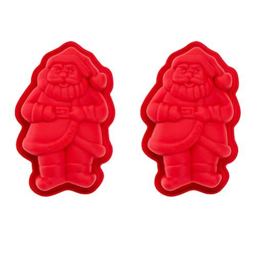 Cabilock 2 Pezzi Stampo in Silicone Natalizio Stampi per Torta di Babbo Natale Stampo Fondente 3D Decorazioni per Torta Natalizia per Fai da Te Muffin Cioccolato Ghiaccio Cubetti Sapone
