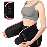 Sweat Waist Trainer for Women, Adjustable Waist trimmer, Slimming Waist Stomach Wrap for Gym Fitness Workout to Lose Belly Fat Pink S