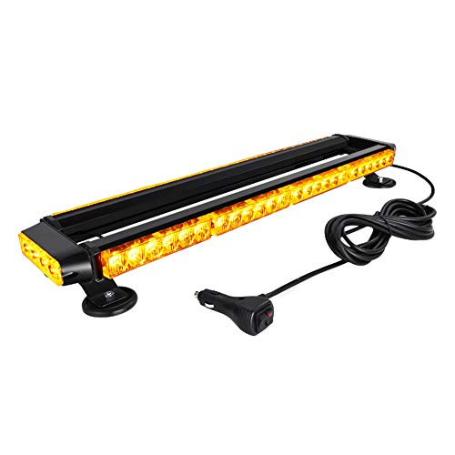 AT-HAIHAN Amber Mini Lightbar Rooftop Emergency Hazard Warning Strobe Light w/Four Strong Magnetic Base, 56W LED, IP65 Waterproof for Snow Plow, Trucks or Construction Vehicles