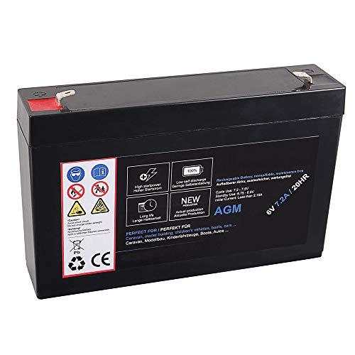 AGM Blei Akku 6V 7,2Ah 20HR Batterie Glasfaservlies Bleiakku Bleigel Vlies wartungsfrei Technik Universal 7200mah Lead Battery 7,2 Ah 7200 mah 6 Volt