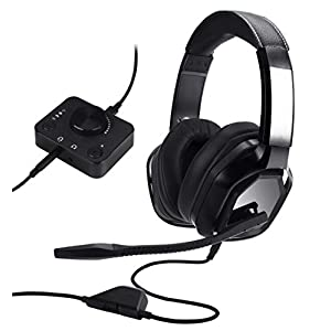 AmazonBasics Premium Gaming Headset for PC and Consoles (Xbox, PS4) with Desktop Mixer – Black