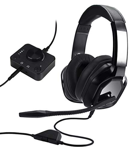 Amazon Basics Premium Gaming Headset fur PCs und Konsolen Xbox PS4 mit Audiomixer schwarz