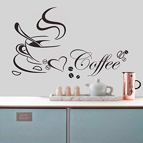 Kaffeetasse mit Herz Vinyl Restaurant Küche Abnehmbare Wandaufkleber DIY Home Decor Wandkunst