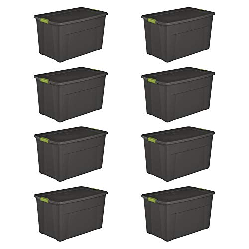 Sterilite 19453V04 35 Gallon Storage Tote Box w/Latching Container Lid (8 Pack)