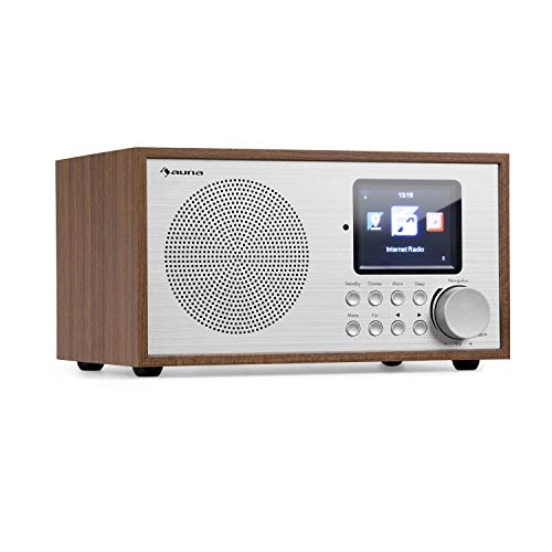auna Silver Star - Radio Internet, Mini Radio, Radio DAB+/FM, WiFi, Bluetooth, USB, AUX-In, Line Out, 8W RMS, Display HCC, Telecomando, Quercia