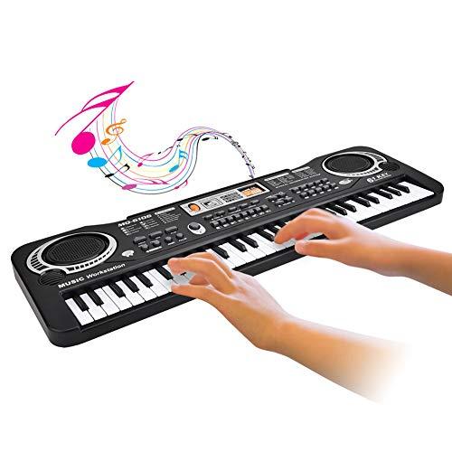 Zerodis Elektronisches Klavier 61 Tasten E Keyboard mit digitaler Tastatur und Mikrofon EU Stecker Elektronisches interaktives Lernspielzeug für Klaviertastaturen mit 6 Liedern für Kinder