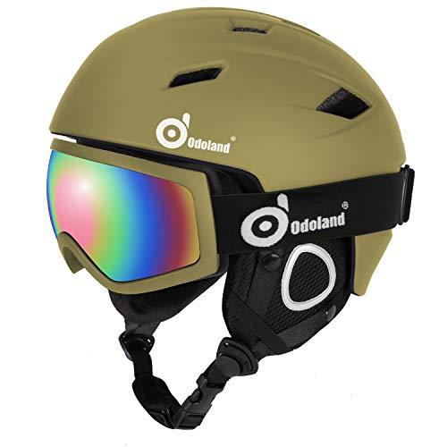 Odoland Skihelm und Skibrille Set, Snowboardhelm mit Snowboardbrille für Erwachsene und Kinder, Schneebrille UV 400 Schutz Windwiderstand Snowboard Brille zum Skifahren und Bergsteigen Grün S-50-53cm
