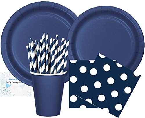 Navy Blue Party Supplies - Plates Cups Napkins and Straws for 16 People - Perfect for Birthday Party Baby Shower Bridal Shower Nautical Party and All Lavish Affairs