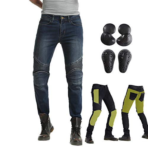 """Takuey Biker Jeans for Men Motorcycle Riding Pants Reinforce with Aramid Protection Lining (S(28)=Waist 31.5"""", Blue)"""