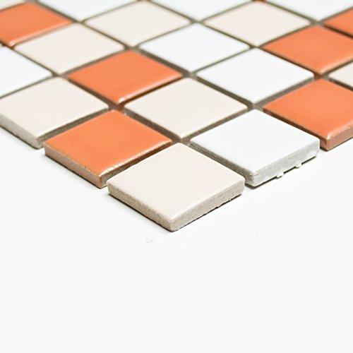 Piastrelle Mosaico Mosaico Piastrelle Bagno in ceramica quadrato bianco terracotta 6mm nuovo # 228