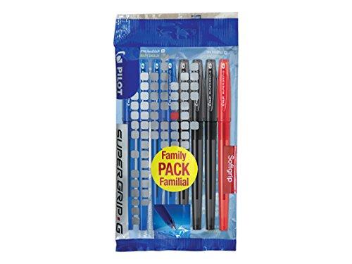 Pilot Supergrip G – Juego de 8 bolígrafos de punta fina, color azul, negro y rojo