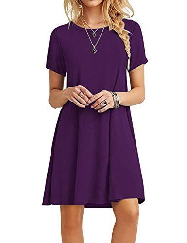 MOLERANI Women's Casual Plain Simple T-Shirt Loose Dress Purple L