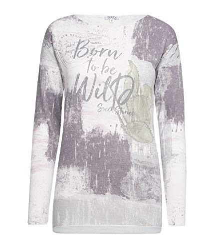 SOCCX Damen Pullover mit All Over Print und Glitzersteinen