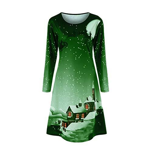 VEMOW Herbst Elegante Damen Mode Halbe Hülse Weihnachtskatzendruck Vintage Lässig Tägliche Party Schaukel Minikleid 2018(A-Grün, 36 DE/M CN)
