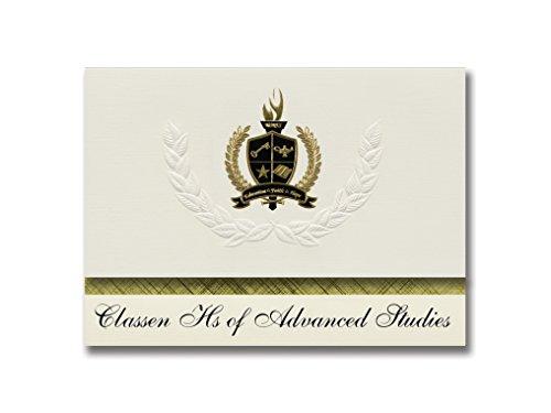 Signature-Announcements Classen Hs of Advanced Studies (Oklahoma City, OK) Abschlussankündigungen, Präsidential-Elite Pack 25 mit goldfarbenen und schwarzen metallischen Folienversiegelung