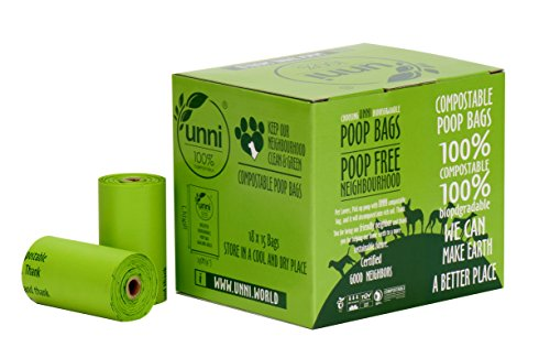 UNNI 100% Compostable Dog Poop Bags, Extra Thick Pet Waste Bags, 270 Count, 18 Refill Rolls, 9x13...