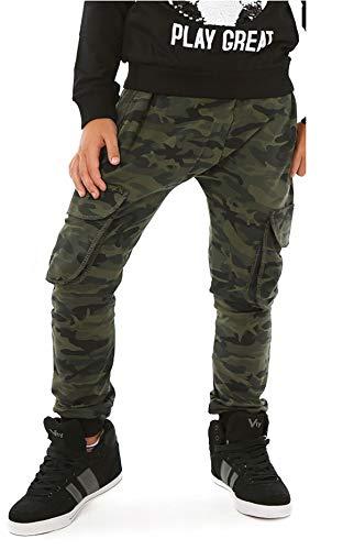 Solvera Jogginghose für Kinder, elastisch an der Taille, Camouflage-Hose, für Jungen, Cargo-Stoff, mit Militär-Taschen, Grün 152 cm