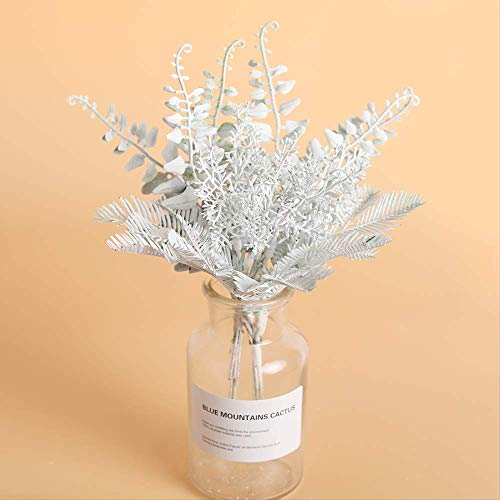 Yywl Flores secas 6 Unidades/Set de flores blancas artificiales DIY Scrapbooking Pequeño Ramo Farne Flores falsificadas plantas artificiales para el hogar boda decoración de Navidad