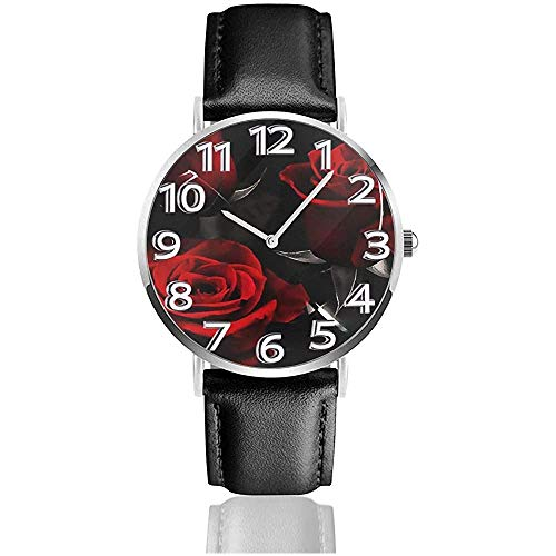 Rose Flower Wrist Watches Relojes de Empresa con Correa de Cuero de PU