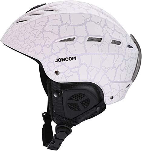 Joncom Ski Helmet Snowboard Helmet - Adjustable Venting Goggles Compatible Removable Liner Ear Pads Men Women Youth (White-2, M Size:55-58cm (21.65-22.83 inches))