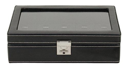 Friedrich 23 Uhrenkasten London Leder schwarz für 10 Uhren 29 x 18 5 x 8 5 cm 26105-2