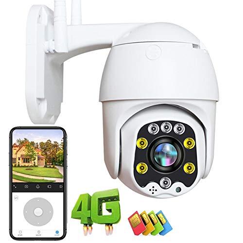 Cámara IP de Vigilancia Exterior 3G/4G LTE GSM Con Detección de Movimiento Visión Nocturna en Color 30M High-Definition 1080P PTZ Cámara Exterior IP66 Impermeable Granja Pastar P2P ONVIF 【Cámara+64G】