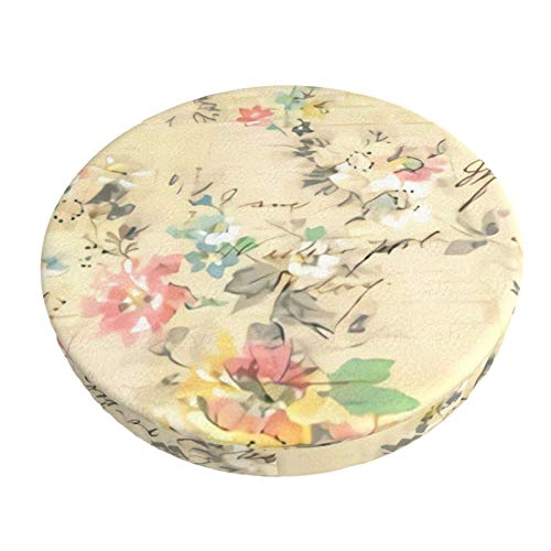Breathable Round Stool Cover,Shabby Chic Antique Vintage Flowers Round Barstool Seat Covers Stool Cushion Slipcover 13 Inch