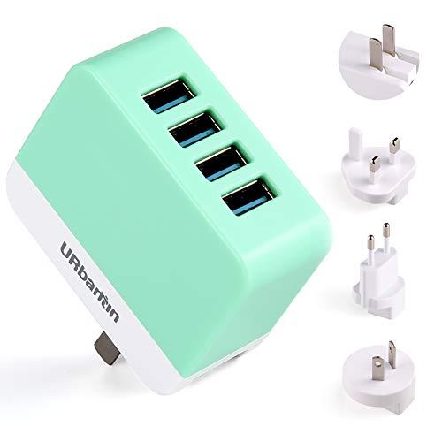 URbantin USB-wandlader 4-poorts wereldwijde reisadapter, laadstekker voeding universele lader adapter met EU/USA/UK/UIT Duitsland stekker voor iPhone, Samsung, Huawei, iPad, tablet (groen)