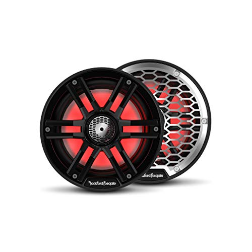 """Rockford Fosgate M2-65B Color Optix 6.5"""" 2-Way Coaxial Multicolor LED Lighted Marine Speakers - Black/Stainless (Pair)"""