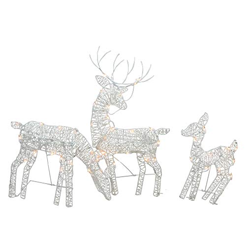 Northlight Set of 3 White Glittered Doe, Fawn and Reindeer Lighted Christmas Outdoor Decoration