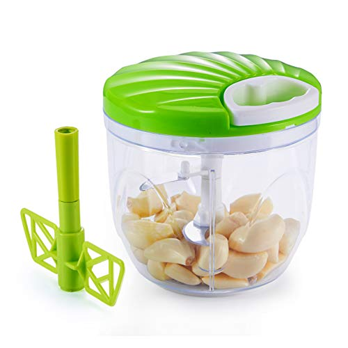 KVOTA Schneidemaschine Zerkleinerer Manuell Gemüseschneider Obst und Gemüse Hacken Zwiebelschneider mit 5 Klingen für Salat Zwiebel Fleisch Kräuter Knoblauch
