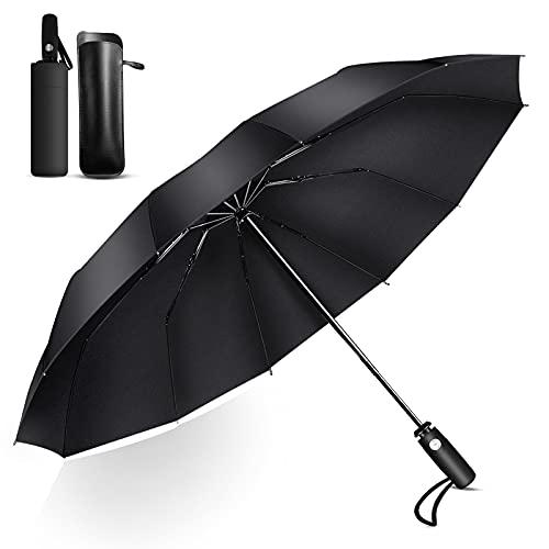 Regenschirm Umbrella Winddichter UV-Sonnenschutz 12 Regenschirmrippe Wasserdichter Umgekehrter Faltschirm mit Automatischem Öffnen und Schließen mit Aufbewahrungstasche