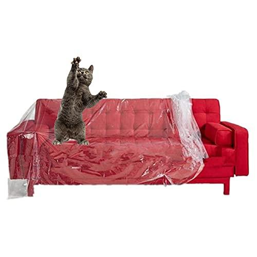 2 PCS Transparente Kunststoff Sofa Staubschutzhüllen Wasserfeste Sofabezug Sofa Protector Möbel Bett Sofa Couch Protector,Polyethylenfolie Transparent Gewächshausfolie(2 * 3M)